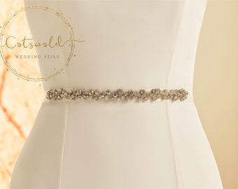 Simple Crystal Bridal Belt, Satin Belt,  Wedding Dress Belt, Ivory