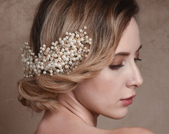 Beautiful Bridal Hair Comb, Luxe Pearl Cluster Chic Hair Comb, Silver or Gold, Bridal Accessories, Bridesmaid Hair Combs