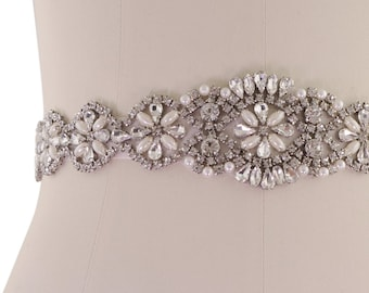 Beautiful Bridal Belt, Exquisite Crystal & Pearl Belt,  Wedding Dress Belt, Rose Pink or Ivory