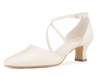 Classic Bridal Shoes, Ivory Satin Brides Shoes, Crossover Strap,  Low Heel, Extra Comfort Wedding Shoes, Bridal Accessories