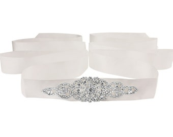 Beautiful Bridal Belt, Crystal Treasure Ivory Sash,  Wedding Dress Belt, Ivory Silver Bridal Belt