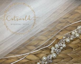 "32"" Genuine Swarovski Bridal Wedding Veil,  Corded Edge - Single Layer Tulle Veil, 32 inches, 82 cm - Ivory Veil, Waist Length"