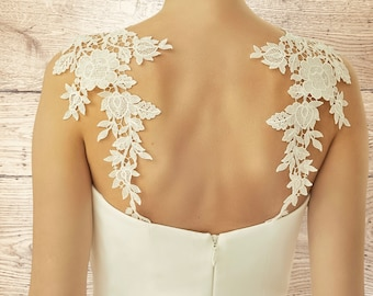 Beautiful Delicate Lace Dress Straps, High Quality Delicate Lace Versatile Bridal Dress Straps, Ivory Lace, One Size Fits All