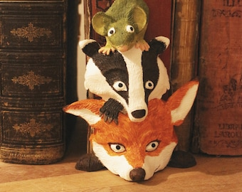 Three animals heads - Fox, Badger, Mouse - sculpture for walls or bookcases - personal creation - by Pointy Muzzles