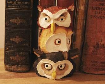 Three heads owls - sculpture for walls or bookcases - personal creation - by Pointy Muzzles