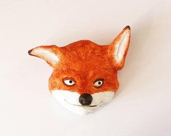 Fox head - sculpture for walls - by Pointy Muzzles