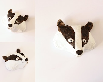 Badger head - sculpture for walls - by Pointy Muzzles