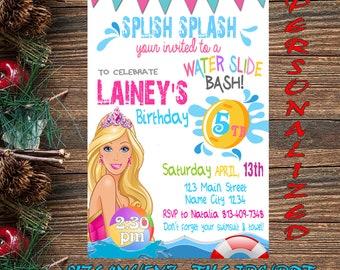 Barbie Invitation Birthday Pool Party Card Digital Printable Water Slide Bash