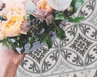 Barcelona Dark Gray Vinyl Mat, Vinyl Floor Decor, Tiles Art, PVC Mat, Kitchen Floor Decor, Living Room Mat, Vinyl Mat, Tile PVC Mat #58T