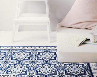 Armenian Vinyl Mat, Ceramic Pattern, Vinyl Rug, Portuguese Decor, Vinyl Floor, Talavera Decor, Comfort Mat, Kitchen Floor Decor, Rug #60T