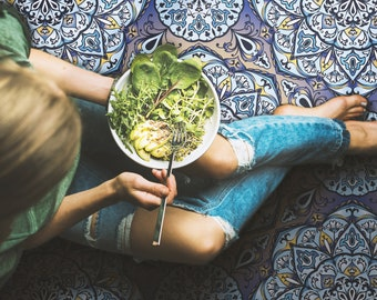 Pompeiana Vinyl Mat, colorful glaze seamless pattern mandala oriental, Boho PVC Carpet, Plain Mat, Patterned Mat for Living Room #15P