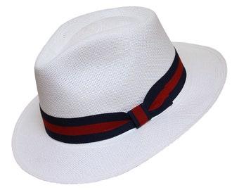 3d0300941c72ca White Teardrop Fedora Panama Hat - Handwoven in Ecuador - Genuine Panama Hat  made from Toquilla Straw