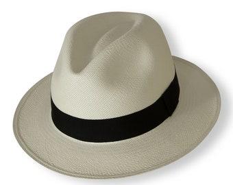 5beb7755995c79 White Classic Fedora Panama Hat - Handwoven in Ecuador - Genuine Panama Hat  made from Toquilla Straw