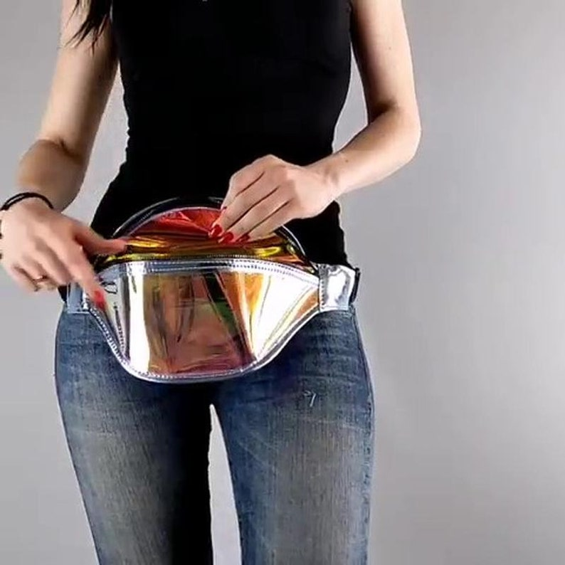 Holographic iridescent fanny pack for women