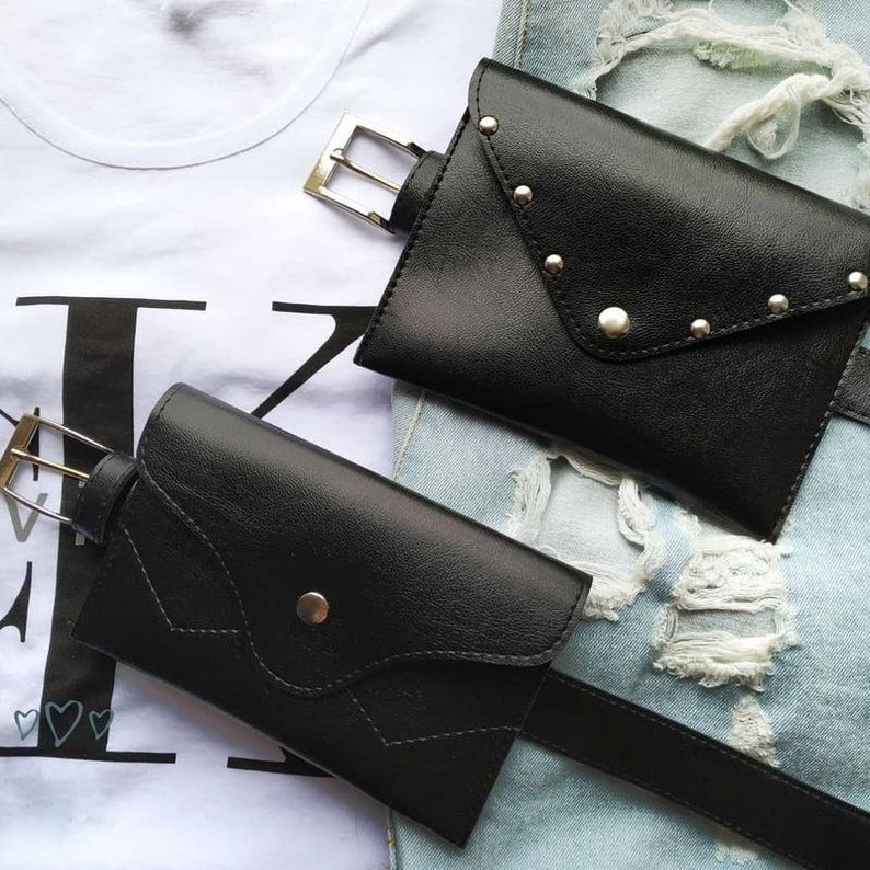 Convertible black vegan waist bag