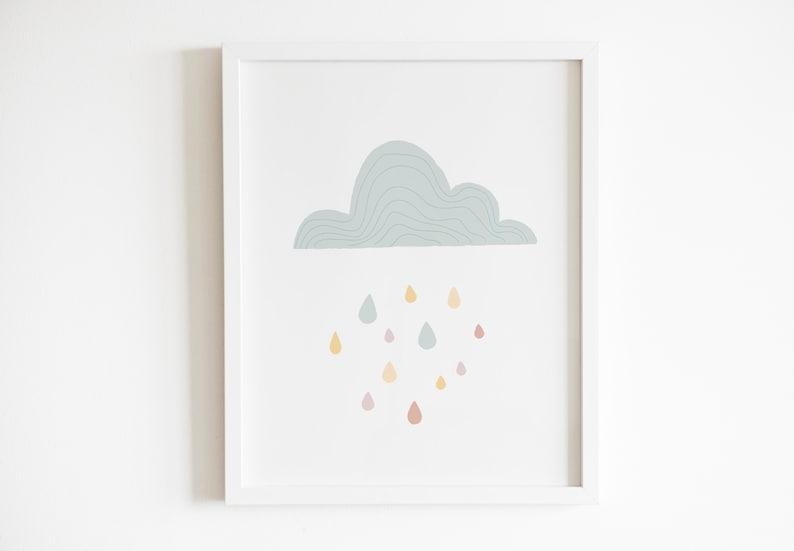 Boho Rain Cloud Print Modern Cloud Print Cloud and Rain image 0