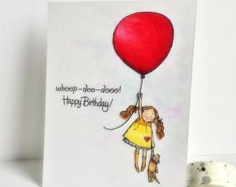 Happy Birthday Card/Handmade birthday card/handmade card/balloon card/cute card/card for girl/birthday card for girl/cas