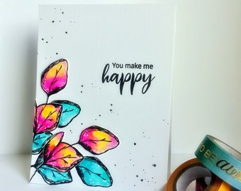 You Make Me Happy Card/ Handmade card/ Hello Card/ Cards/ Greeting Cards/Card for her/Card for him/Made in Canada/Handmade Card/Stamped card