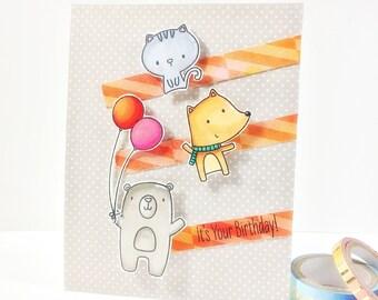It's your birthday/Happy birthday card/handmade card/Bear, fox, cat Card/cute card/card for kids/Animal cards/Cute Animal Birthday Cards/