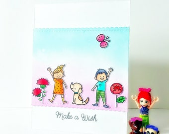 Make A Wish/Birhtday Card/Kids Birthday Card/Cute Birthday Card/Dog Birthday Card/Boy Birhtday/Girl Birhtday/Gift ideas/Handmade Kids card