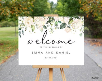 Welcome wedding sign // Printed or Digital // A1 Sign // Welcome to our wedding // greenery wedding // FREE DELIVERY