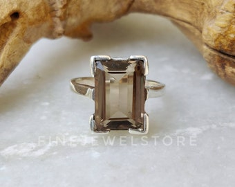 smoky quartz ring,brown ring,gold ring,customize rings,engraved ring,stacking ring,gold gemstone ring