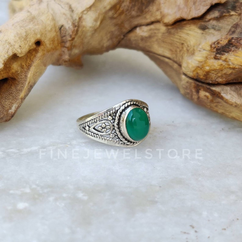 Handmade Sterling silver ring Natural Green Onyx Ring statement ring oval gemstone alternate Engagement ring