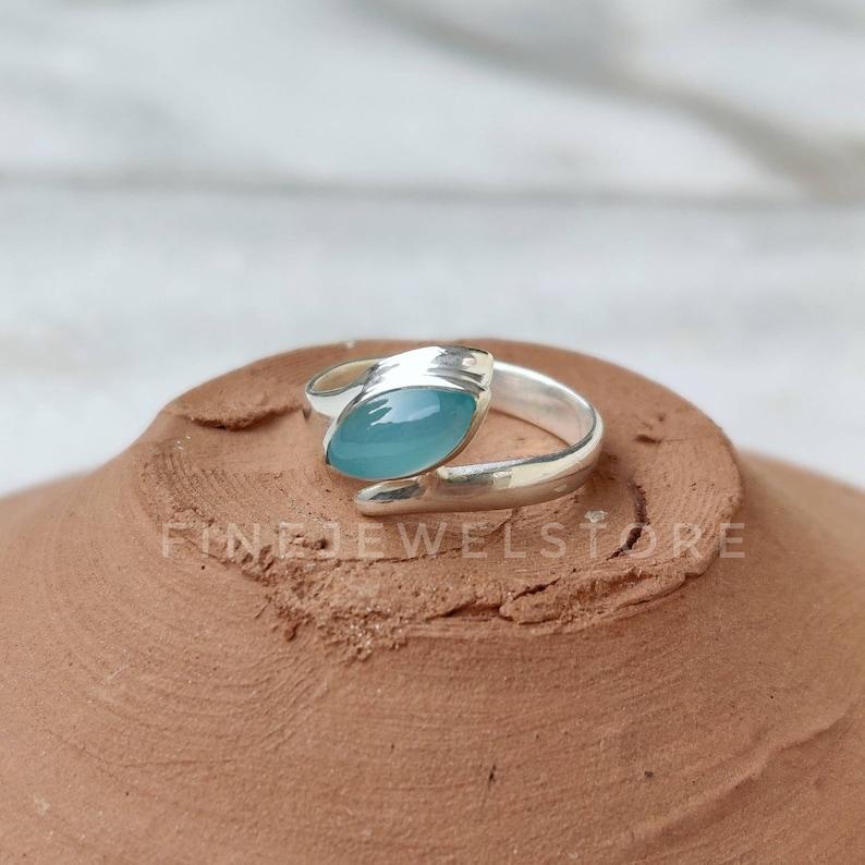 alternate Engagement ring statement ring Aqua Chalcedony Ring Marquise gemstone Handmade Sterling silver ring aqua gemstone love