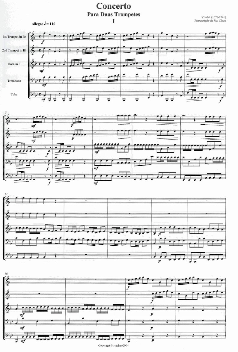 Concert for Two Trumpets by Vivaldi  Brass Quintet image 0