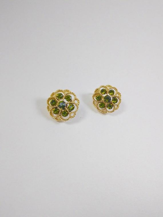 Green Rhinestone Flower Clip On Earrings, Vintage
