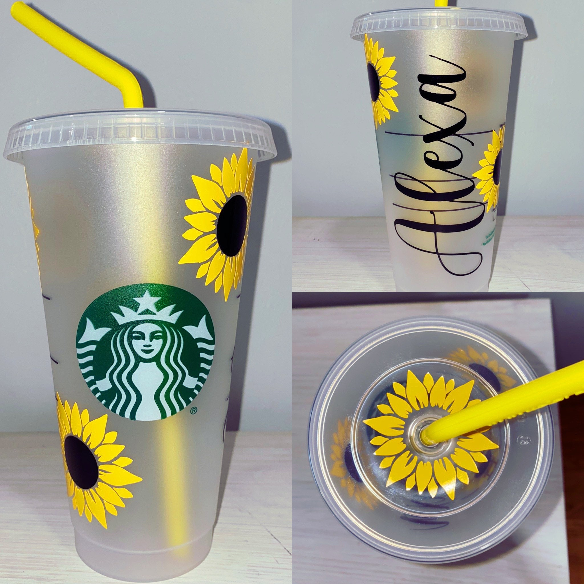 starbucks reusable cold cup gift for friend Venti cold cup personalized tumbler Sunflower Starbucks Cold Cup reusable venti cold cup