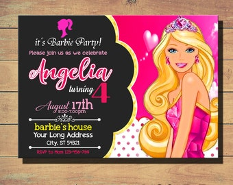 Barbie Birthday InvitationBarbie InviteBarbie PartyBarbie Party InvitationInvitationsBarbie PrintableBarbie Card TAG