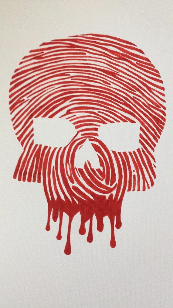 Hand Drawn Real Human Fingerprint Bloody Skull Original Art Etsy