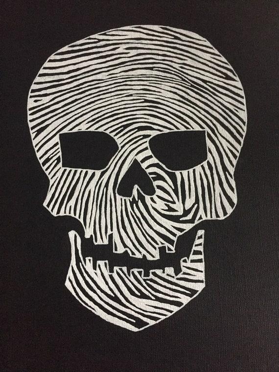 Hand Drawn Skull Fingerprint Original Art Forensic Science Csi Etsy
