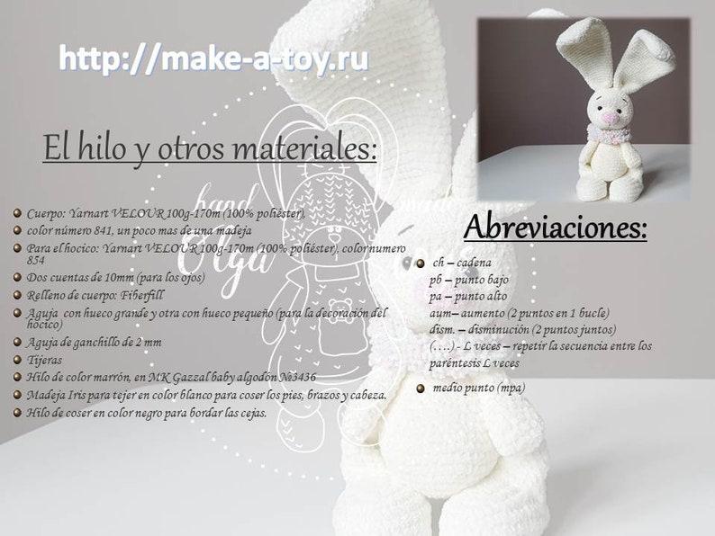 Amigurumi tutorial PDF file Amigurumi Pattern Bunny Crochet Patron Conejo Sonya  Espa\u00f1ol