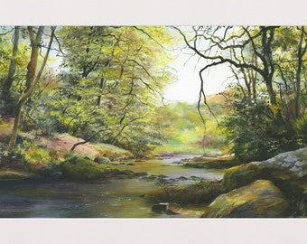 River Lyn, Lynmouth, North Devon,  Mounted Limited Edition Print