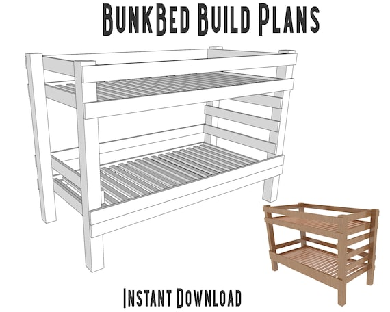 Bunk Bed Plans Diy Bunk Bed Build Plans Bed Woodworking Plans Childrens Bunk Bed Self Build Plans