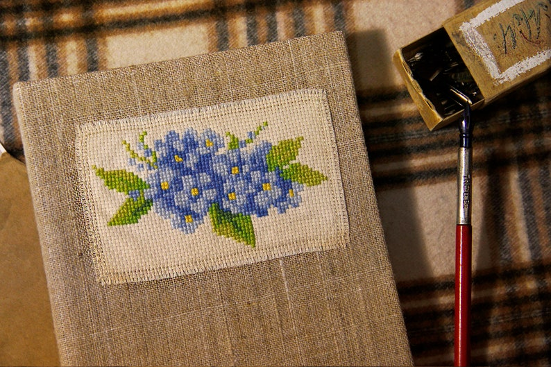 Hard cover notebook with cross-stitch floral embroidery Thick 160 gsm watercolor sketchbook
