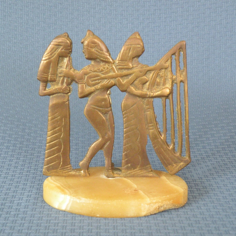 Brass Egyptian Silhouettes on a Marble Base