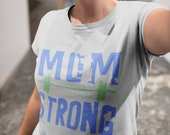 MOM STRONG Workout Gym T-Shirt Tee Mother's Day Gray Women's