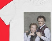 Brennan & Dale Family Photo Crest - Prestige Worldwide - Step Brothers Sublimated Image Short Sleeve Crew Neck Tee S-XXL