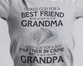 Grandma's Best Friend and Grandpa's Partner in Crime Youth T-Shirt Choose Size