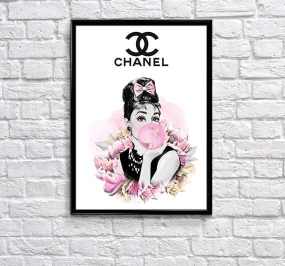 Audrey Hepburn Wall Art, Chanel home decor, Chanel poster, bathroom wall  art, Chanel art, fashion wall art