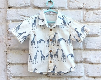 f6a8cd38 Boys Printed Shirt, Animal Print Shirt, Giraffe Print Kids Clothing, Baby  Clothes, Cotton Shirts, Summer Clothing for Boys, White Shirt.