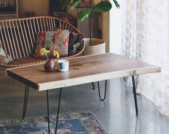 Live Edge Black Walnut Coffee Table, Furniture, Wood Slab, Vintage, Rustic, Mid Century Modern, Farmhouse, Industrial, Wood