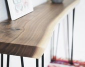 Live Edge Walnut Console Table - Any Size - Handmade Black Walnut Sofa Table Mid Century Modern Entry Table