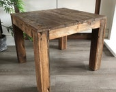 Rustic square reclaimed wood coffee table. Primitive driftwood style. REDUCED