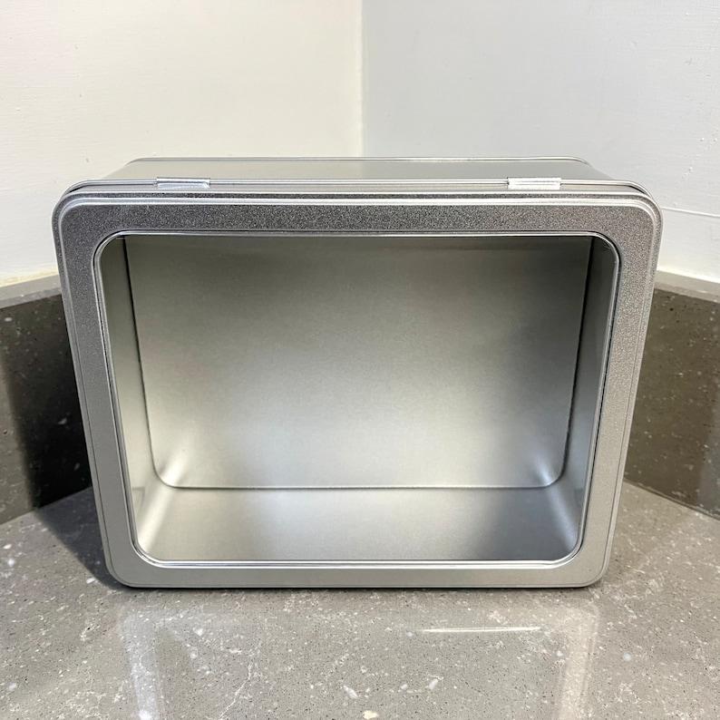 Super large rectangular metal tin with hinged window lid 1400ml