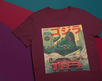 c173b4845 Godzilla poster shitNissan Skyline Gtr R34 shirt, Jdm shirt, Japanese  Godzilla shit, drift king shit, Yakuza shit, gift for boyfriend