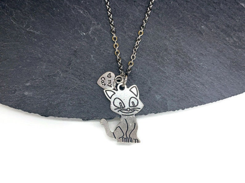 gift girl cat pendant love for cats gift idea cat jewelry Cat necklace accessories Love my cat